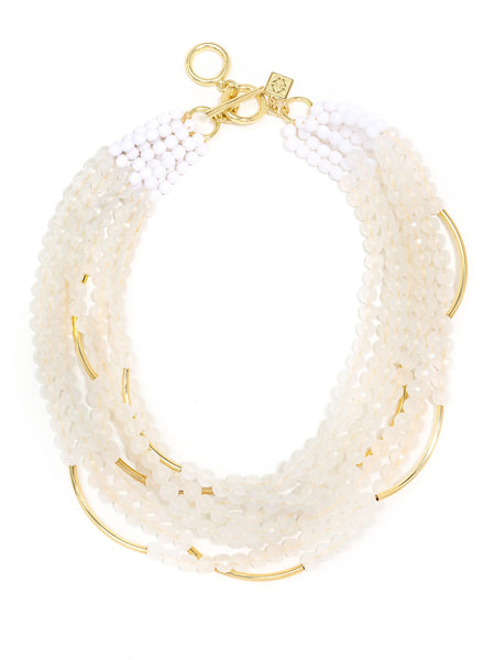 Catch the Wave Beaded Necklace beige white