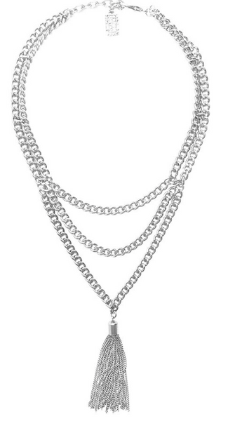 Chain Tassel Layered Necklace in Silver