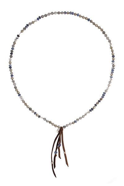 Chan Luu Blue Mix Leather Fringe Long Necklace