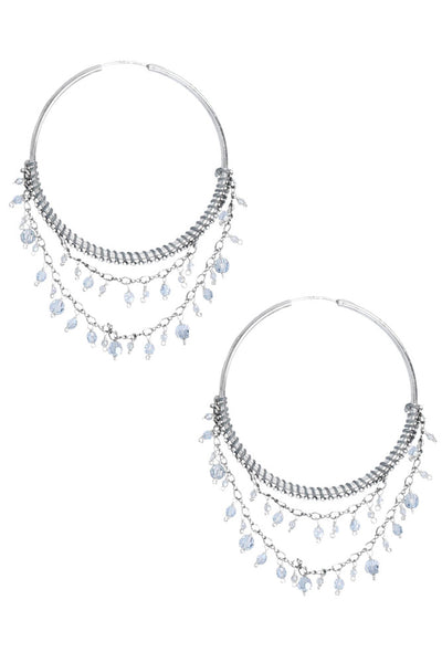Chan Luu Blue Shade Statement Hoop Earrings