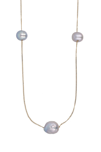 Chan Luu Floating Pearl Layering Necklace gray