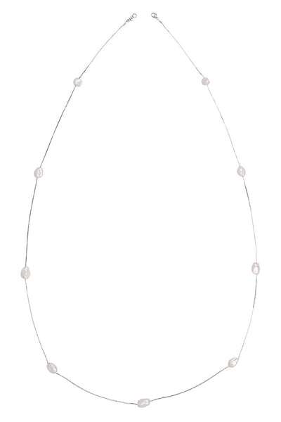 Chan Luu Floating Pearl Layering Necklace white