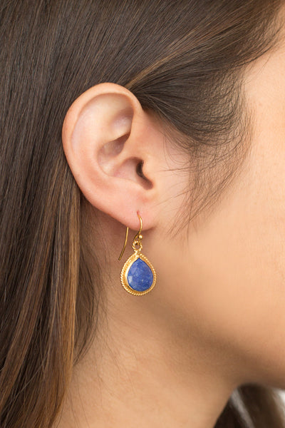 Model with Lapis Drop Earrings