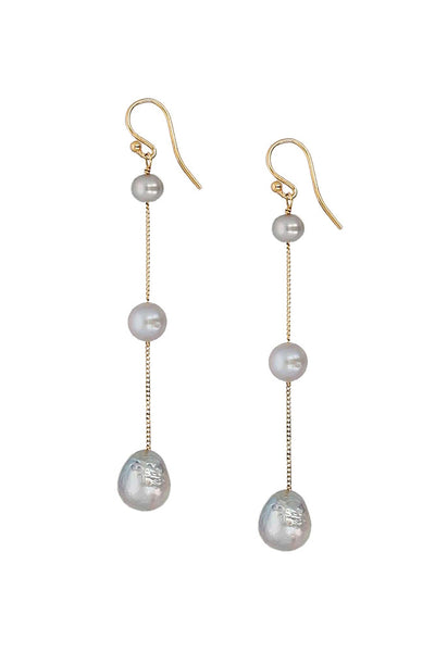 Chan Luu Tiered Floating Pearl Earrings gray