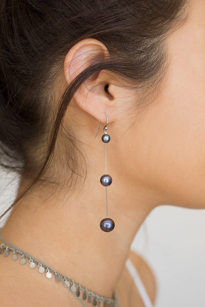 Chan Luu Tiered Floating Pearl Earrings peacock