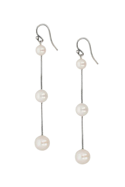 Chan Luu Tiered Floating Pearl Earrings white