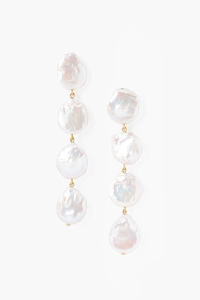 Chan Luu Four Tiered White Keshi Pearl Earrings