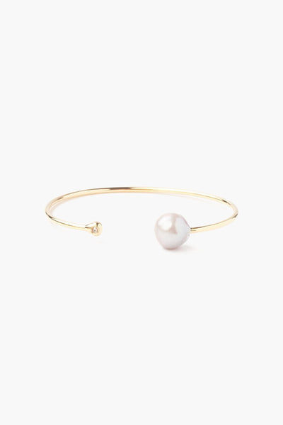 Chan Luu Grey Pearl And Gold Diamond Cuff