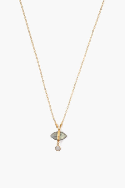 Chan Luu Labradorite Evil Eye And Sliced Diamond Charm Necklace
