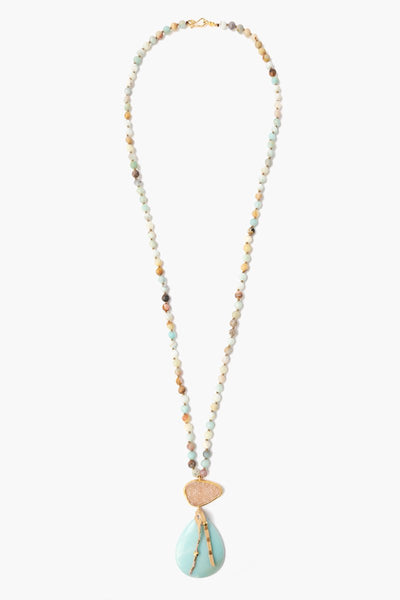 Chan Luu Matte Multi-Amazonite Mix Pendant Necklace long