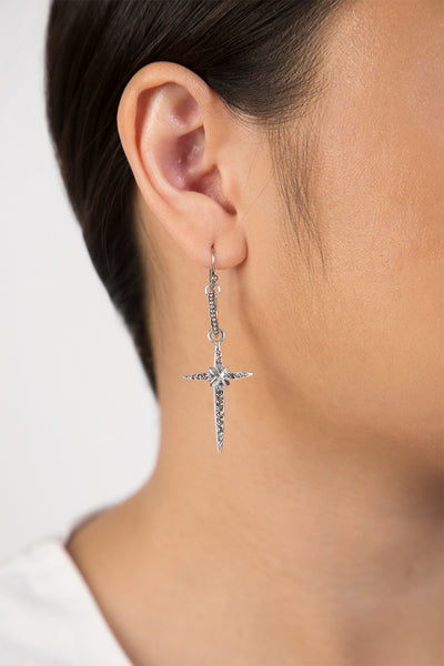 Chan Luu Silver Diamond Cross Earrings