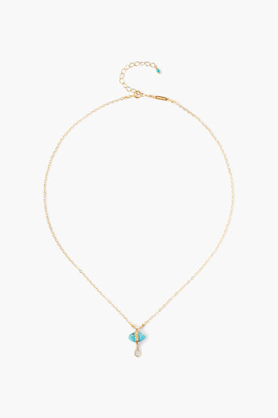 Chan Luu Turquoise Evil Eye Necklace with Champagne Diamond