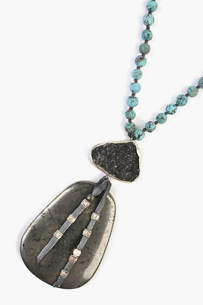 Chan Luu Turquoise Mix Stone Pendant Necklace
