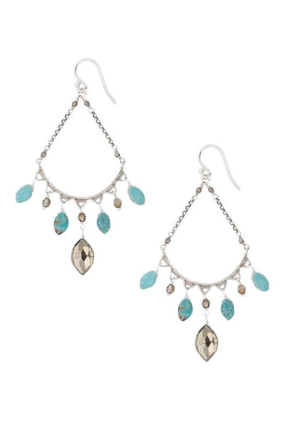 Chan Luu Turquoise Mix Teardrop Hoop Earrings