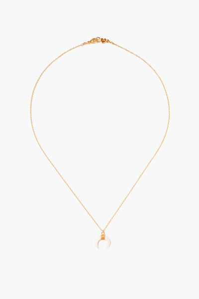 Chan Luu White Bone Horn Delicate Gold Short Necklace