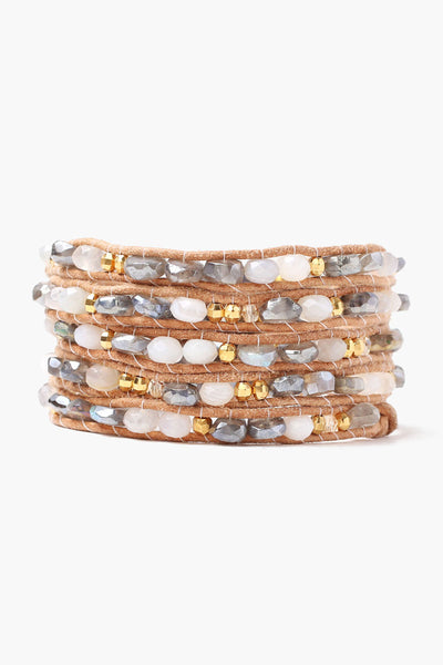 Chan Luu Mystic Labradorite Mix Wrap Bracelet On Natural Leather