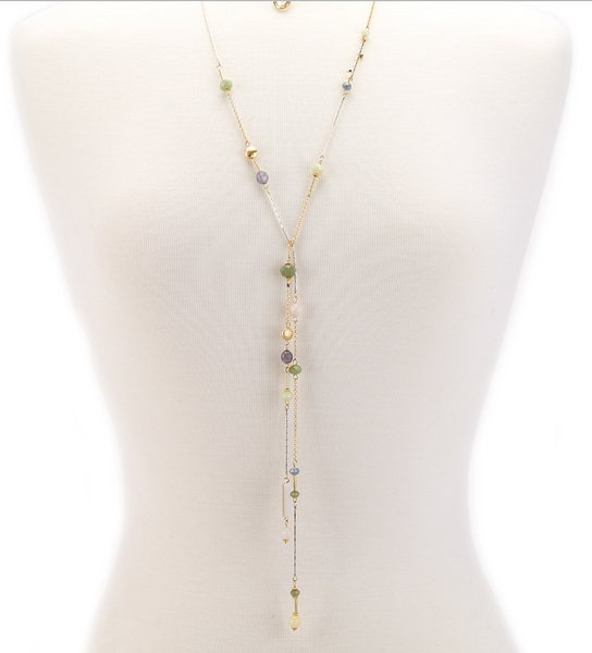 Choker Drop Pendant Beaded Lariat green