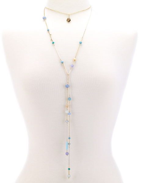 Choker Drop Pendant Beaded Lariat aqua