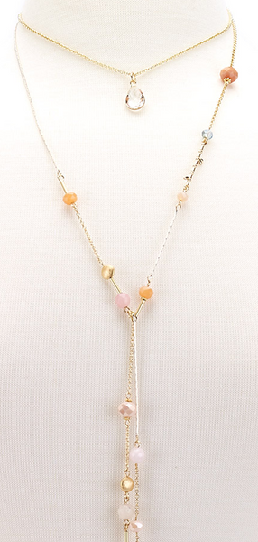 Choker Drop Pendant Beaded Lariat coral zoom