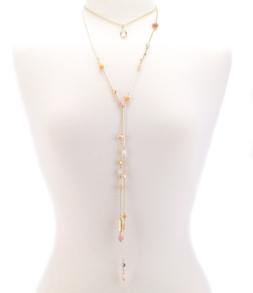 Choker Drop Pendant Beaded Lariat coral