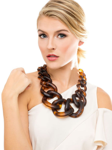 Chunky Links Statement Necklace model