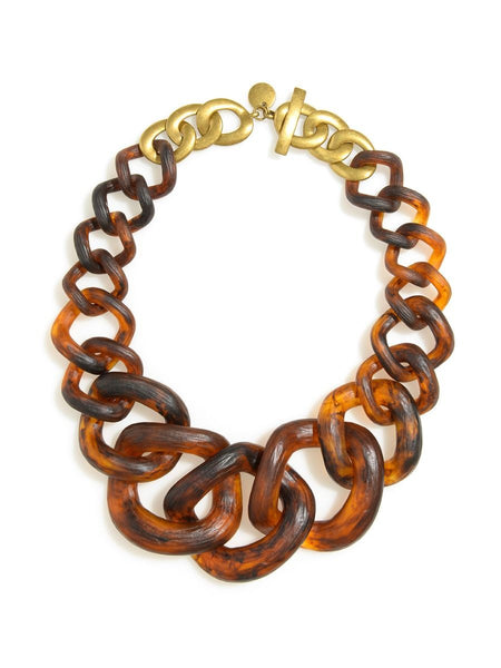 Chunky Links Statement Necklace Tortoise