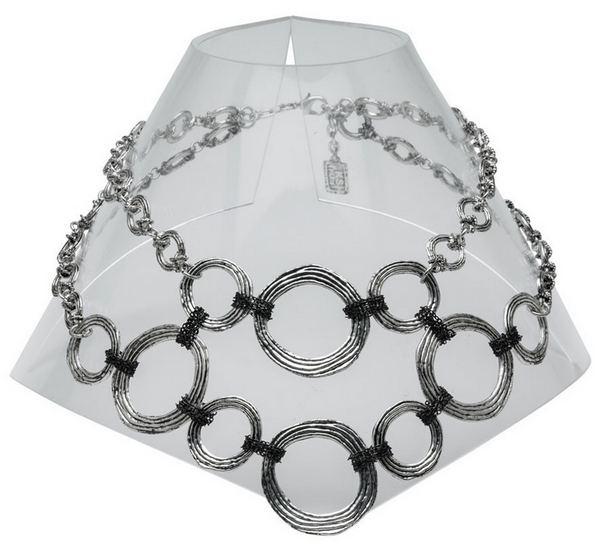 Circles and Chains Statement Necklace silver