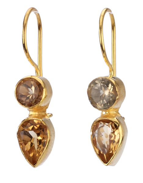 Citrine Crystal Drop Earrings
