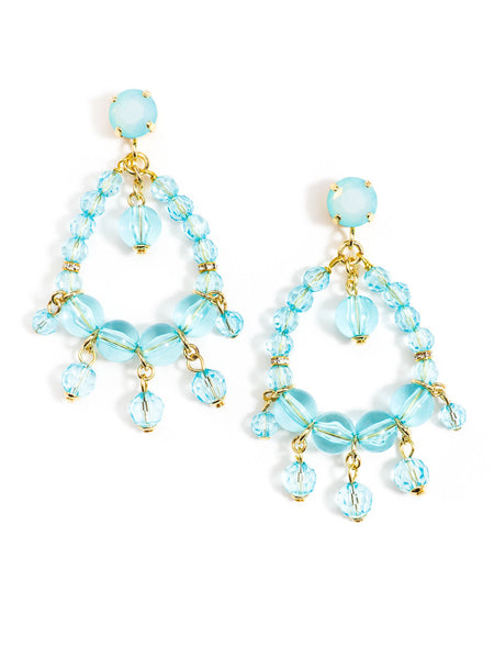 Clear Beaded Earrings blue