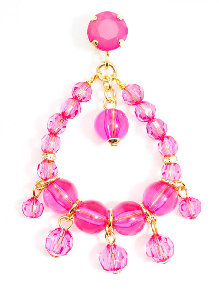 Clear Beaded Earrings pink