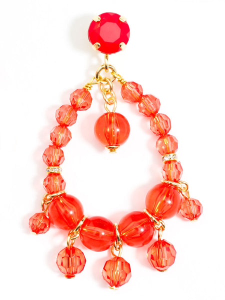 Clear Beaded Earrings red
