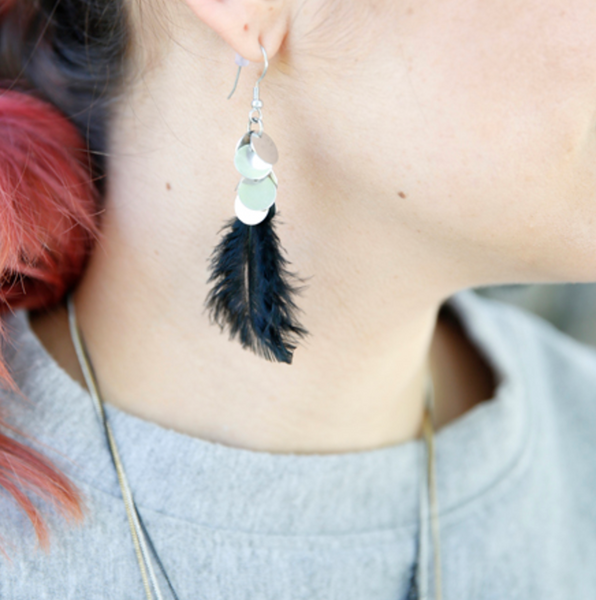 Clustered Disc Feathered Earrings