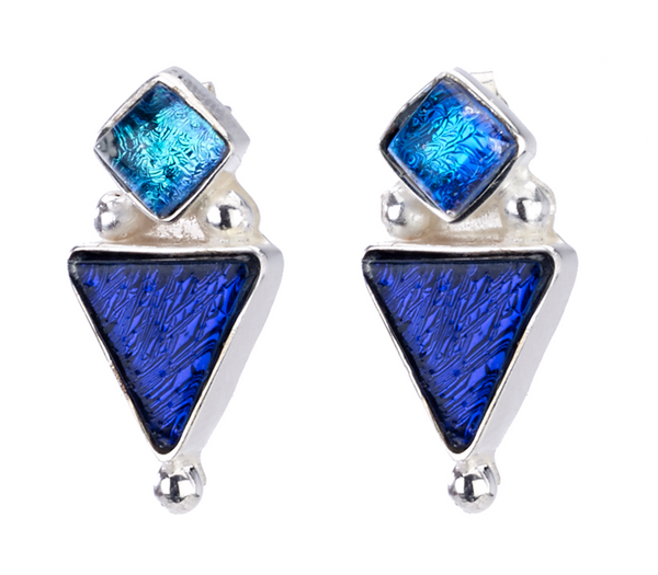 Cobalt Triangle Silver Earrings