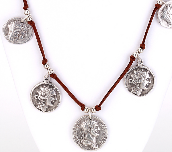 Coin Charms Suede Necklace zoom