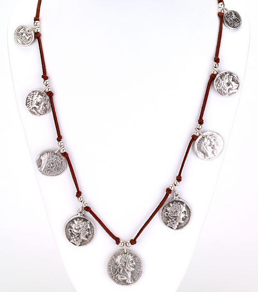 Coin Charms Suede Necklace