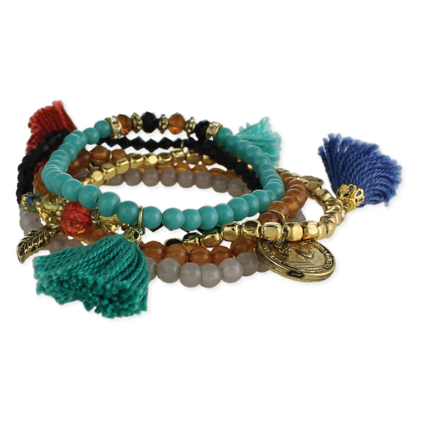 Coin and tassel Beaded Bracelets
