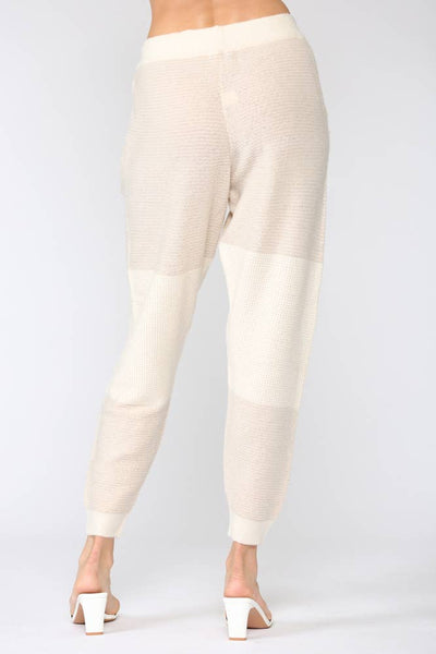 Color Block Waffle Knitted Pants