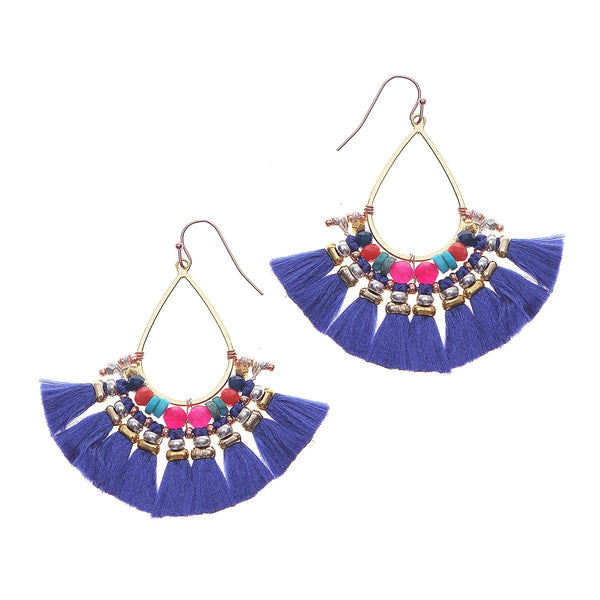 Colorful Fringe Earrings blue