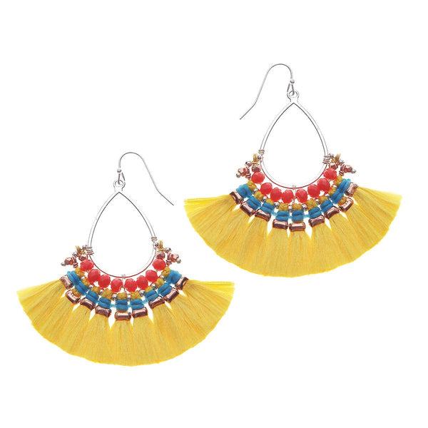 Colorful Fringe Earrings yellow