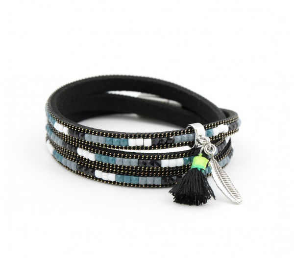 Colors of the Wind Wrap Bracelet black