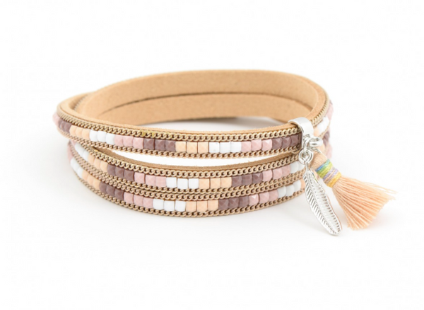 Colors of the Wind Wrap Bracelet tan