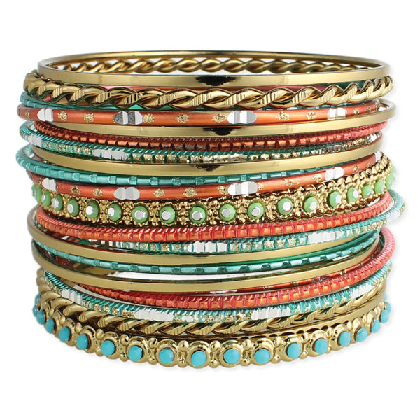Coral and Turquoise Bangles