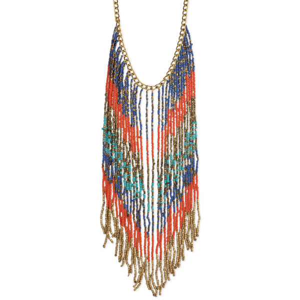 Coral, Blue & Turquoise Fringe Necklace