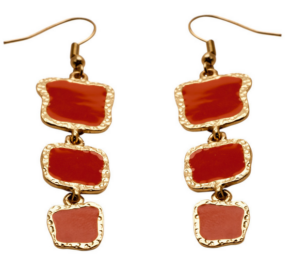 Coral Enamel Dangle Earrings