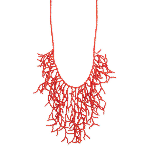 Coral Bead Branch Bib Necklace