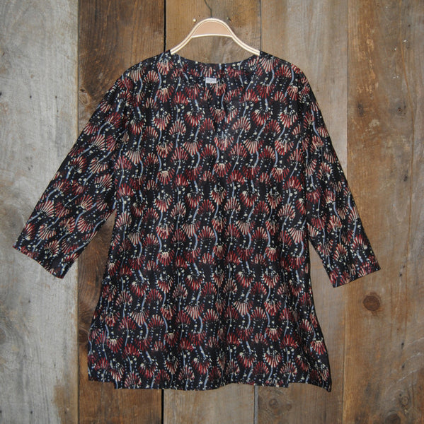 Cotton Print Bohemian Tunic in Maroon