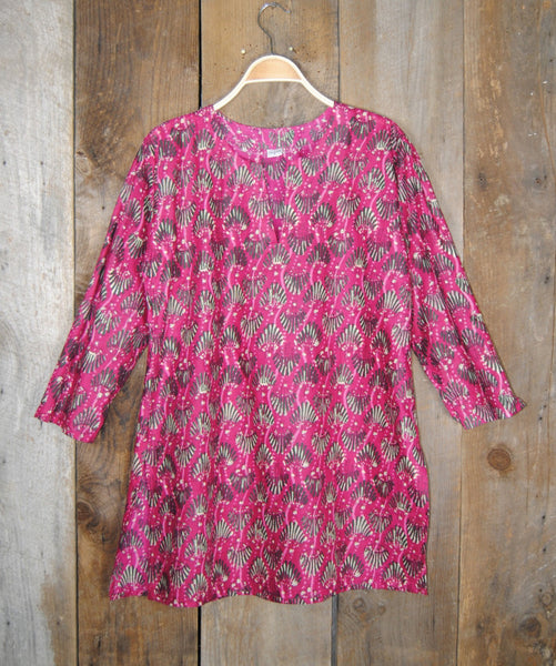 Cotton Print Tunic Beach Pink