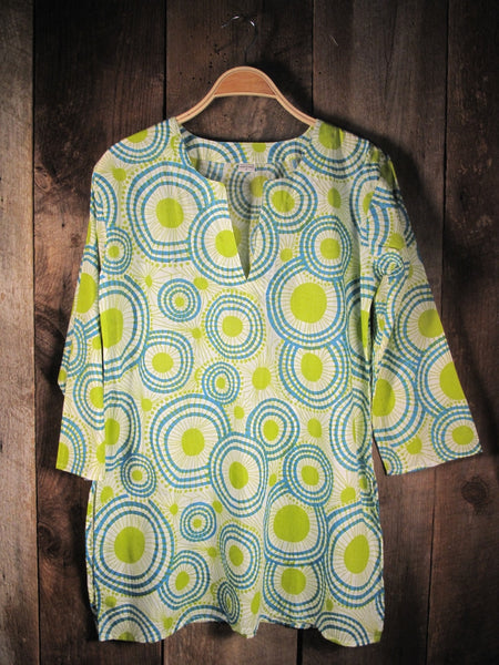 Cotton Print Tunic Lime Mod
