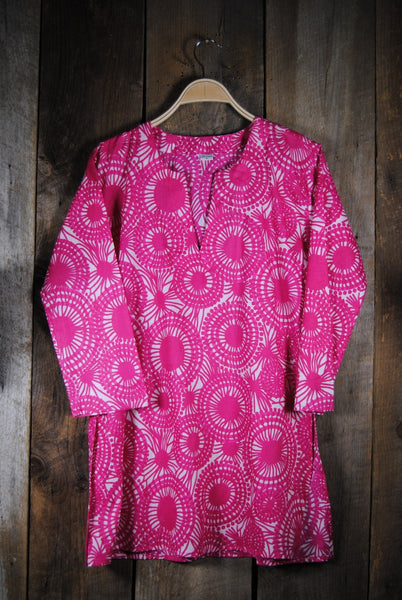 Cotton Print Tunic Mod Pink