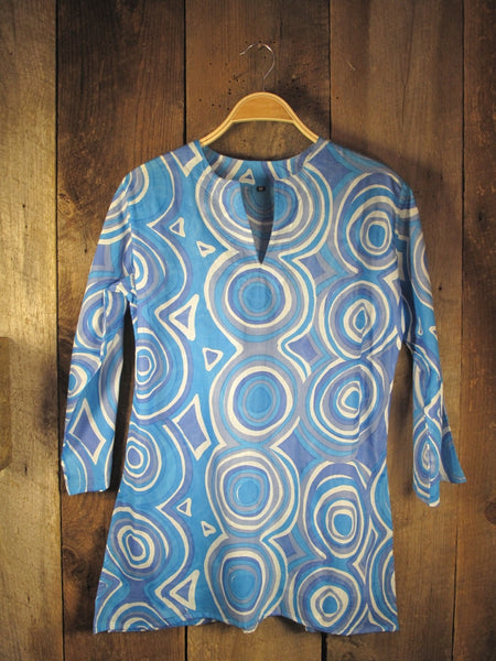 Cotton Print Tunic Mod in Blue